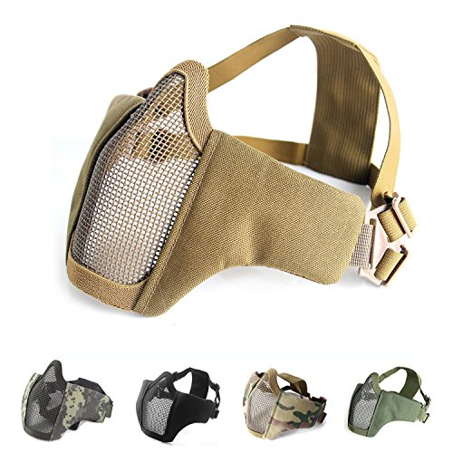 Half Face Protective Lower Mask Tactical Mesh Mask with Adjustable Elastic Strap for Airsoft/ CS/Outdoor games (Tan)