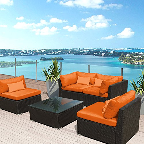 Modenzi 5G-U Outdoor Sectional Patio Furniture Espresso Brown Wicker Sofa Set (Orange)