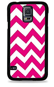 502 Pink and White Chevron Stripes Samsung Galaxy S5 Hardshell Case - Black