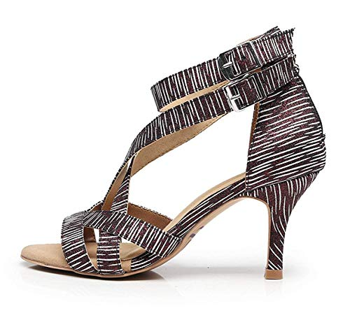 Unido Zapatos Hhgold 4 Señoras De Tobillo Latina 5 Reino Salsa Suela Correa Baile Fiesta blanco Tamaño Negro Blanda Boda Goma color ax1cnawT
