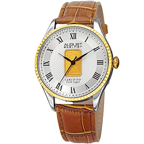 August Steiner Certified Gold Ingot Bar Men's Watch - Genuine Tan Leather Alligator Embossed Strap, Gold Tone Round Case with Coin Edge - AS8217BRG