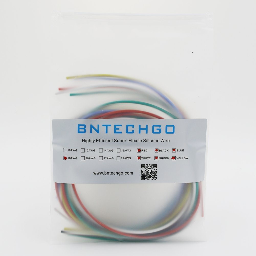 Buy BNTECHGO 18 Gauge Silicone Wire 18 feet 6 Colors [3ft: Black ...