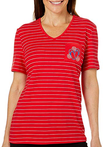 Coral Bay Petite Embroidered Flip Flop Striped Pocket Top Small Petite Red/White/Blue