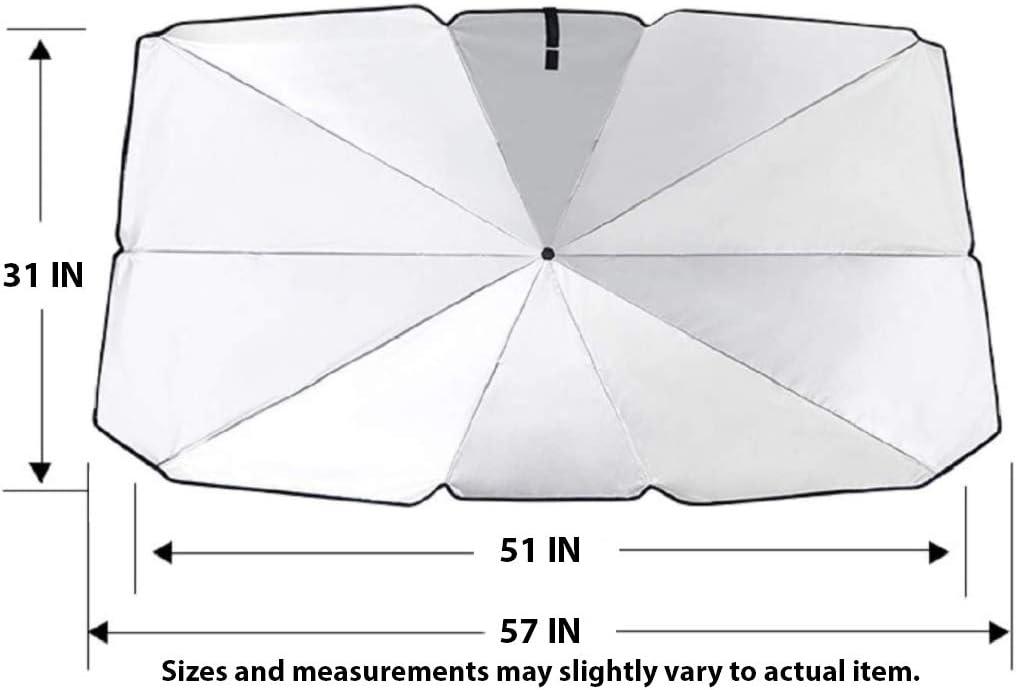 Moonshuttle Umbrella Style Portable Foldable Sunshade Car Windshield Outdoor Storage Dashboard