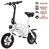 shaofu Folding Electric Bicycle – 350W 36V Waterproof E-Bike with 15 Mile Range, Collapsible Frame, and APP Speed Setting (White-6AH)