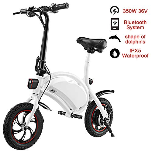 shaofu Folding Electric Bicycle - 350W 36V Waterproof E-Bike with 15 Mile Range, Collapsible Frame, and APP Speed Setting (White-6AH)