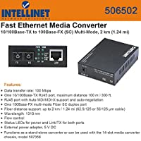 Intellinet 506502 10/100Base-Tx To 100Base-Fx (Sc) Multi-Mode, 2-Km Ethernet Media Converter (Networking / Computer Accessories)