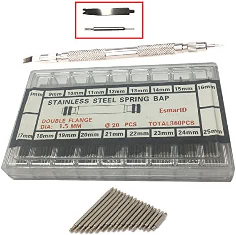 EsmartD 360pcs 8-25mm Stainless Steel Watch Band Spring Bars Link Pins with Strap Link Pin Remover --- Repair Replacement Pin Tool Kit Set