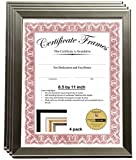 Business License Frame 8.5 by 11 inch Self Standing with Hanger for Professionals, Certificate, Tax License and more (4- Pack)