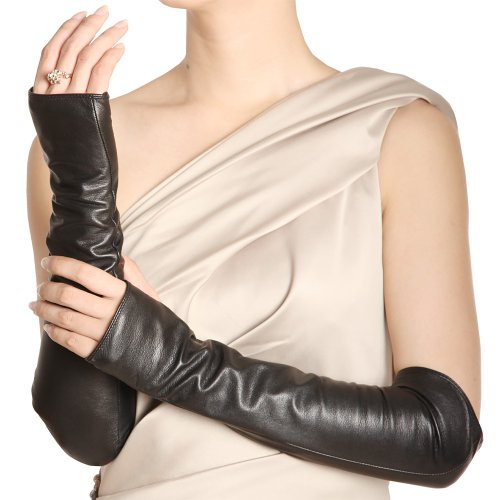 WARMEN Women Genuine Nappa Leather Elbow Long Fingerless Driving Gloves for Fur Coat (S, Black)