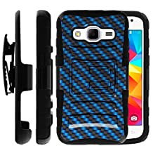 Samsung Galaxy Core Prime Case | Samsung Prevail LTE Holster Case [Heavy Duty Clip] Dual Layer Hard Case with Kickstand and Holster Clip by Untouchble - Blue Carbon Fiber