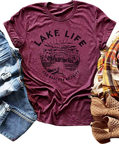 Lake Short Sleeve Shirt - LANMERTREE Women Graphic Tees Lake Life Letters Print T Shirt Short Sleeve Casual Tops Blouse (S, Purple)
