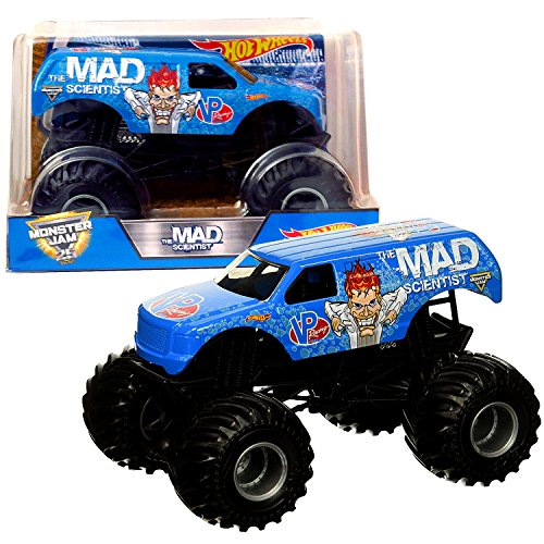 Monster Jam 1:24 Scale Die Cast Metal Body Official Truck - THE MAD SCIENTIST DJX01 with Monster Tires, Working Suspension and 4 Wheel Steering (Mad Truck)