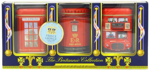 Ahmad Tea Britannia Collection, Loose Tea, Three Variety Flavors, 3 Count Box of 0.88 Ounce Tin