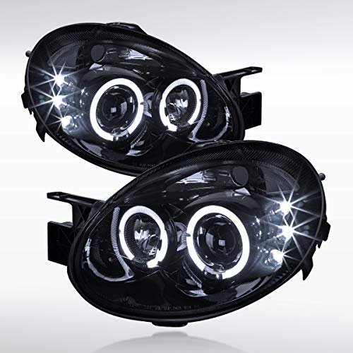 Autozensation For Dodge Neon [Glossy Black] LED Halo Projector Headlights Dodge Neon Euro Headlights