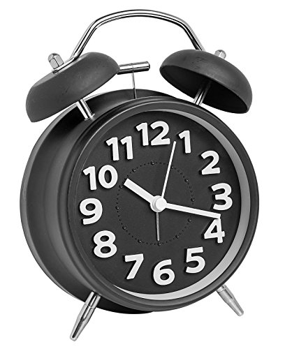 [A2S Vintage Style Alarm Clock - Twin Bell, Analog & Battery Operated - Great for Heavy Sleepers and Travel (Black Classic, Round Shape)] (Bell Style Alarm Clock)