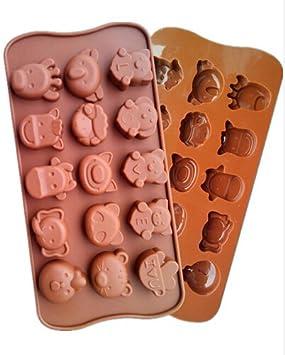 Molde de silicona para repostería, diseño de chocolate, 15 agujeros, forma de animales, 1 unidad: Amazon.es: Hogar