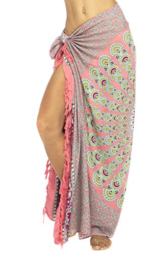 Back From Bali Womens Beach Swimsuit Bikini Cover Up Wrap and Clip Sarong Peacock Coral ()