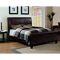 Furniture World Degas Upholstered Sleigh Bed, Queen, Chocolate
