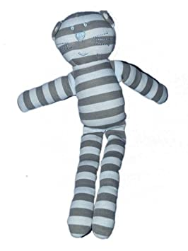 Doudou Chat Boutchou Monoprix bleu gris rayures: Amazon.es ...