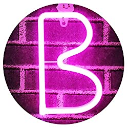 LED Neon Letters Light, USB Batteries Operated Marquee Letters Signs for Night Light Pink Lamp Words for Home, Hotel, Indoor Wall Decor-Pink Letter B