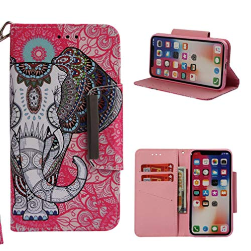 Piel Hipster Wallet - Firefish iPhone X Case,[Kickstand] 3D Printing PU Leather Wallet Case Slim Anti-Scratch Inner TPU Bumper Credit Card Holder Wrist Strap Flip Folio for Apple iPhone X -Colorful Elephant