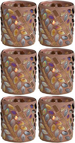 Biedermann & Sons Lodge Collection Shiny Brown Leaf Mosaic Votive Candle Holder, Box of 6