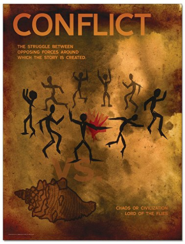 Conflict: Elements of a Novel Mini Poster. Eco-Friendly, English Literature Art Print. Features Lord of the Flies.