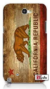 Distressed California State Flag w/Wood Grain Background Image Samsung Galaxy S5, S 5 Quality PVC Hard Plastic Cell Case for Samsung Galaxy S5, S 5 - AT&T Sprint Verizon - White Case