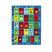 Booooom Jackson Large Collection ABC Fun Kids Rugs, Numbers and Shapes Educational Classroom Rug for Playroom,Classroom and Kidroom,Safety and Fun Alphabet Rug Learning Carpet for Boys and Girls