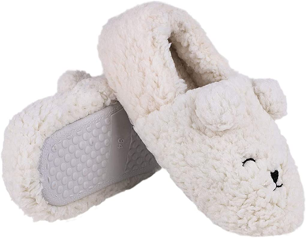 Little Kids Cartoon Puppy Slippers/Warm Fleece Plush Winter Slippers Boots Cute Doggy Non Slip Indoor/Bedroom House Shoes