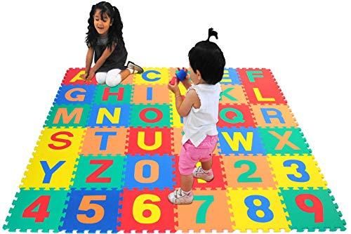 eWonderWorld 36Piece Premium Thick Non-Toxic Kids Toddlers Interlocking Alphabet Numbers Floor Puzzle Foam Play Mat – Waterproof Eva Foam Tiles, Baby Mat for Crawling