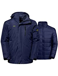 Wantdo Men's Winter Ski Jacket Water Resistant Windproof 3-in-1 Jacket Puff Liner