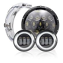 7 inch 75W Black Daymaker LED Headlight Projector + 4.5 Inch LED Fog Lights for Harley Davidson Ultra Classic Electra Glide Street Glide Fat Boy Road King Heritage Softail Slim Switchback Headlamp