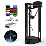 DIY Kossel Mini Delta 3D Printer Linear Guide Rail Rostock Delta 3D Printer With Heated Bed And Filament Support Auto leveling larger Print Size