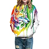 Photno Womens Hooded Sweatshirts, Pullover Hoodies Winter 3D Print Graphic Tops Shirt Blouse Coat Outwear