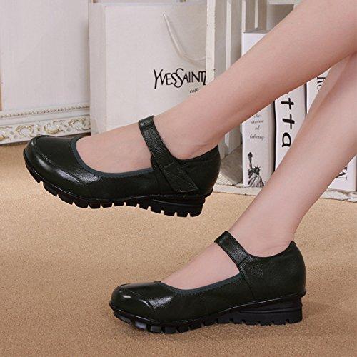 GTVERNH-Alte Damen Die Mutter Schuhe Weichen Sohle Schuhe Runden Kopf Steigung Dokumentarfilm Schuhe Schuhe Mit Mädchen. 35 Schwarz