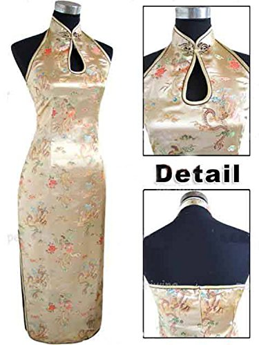 [OS7jdhD85 Fashion Blue Traditional Chinese Halter Cheongsam Long Qipao Backless Costume Dress Size S M L XL XXL XXXL Mujeres Vestidos J3400 GoldXXXL beauty] (Costume Rental Jakarta)