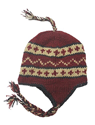 Sherpa Designs Hand Knit Unisex WOOL Beanie Hat Ear Flap Fleece Lined Nepal (Maroon)