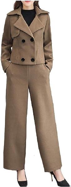 Unastar Women Regular Fit Two-Button Business Suit Midi Skirt 2pcs