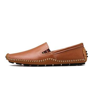 Hongjun-shoes, Mocasines de Cuero Ocasionales de los Hombres Mocasines Suaves de Suela Suave