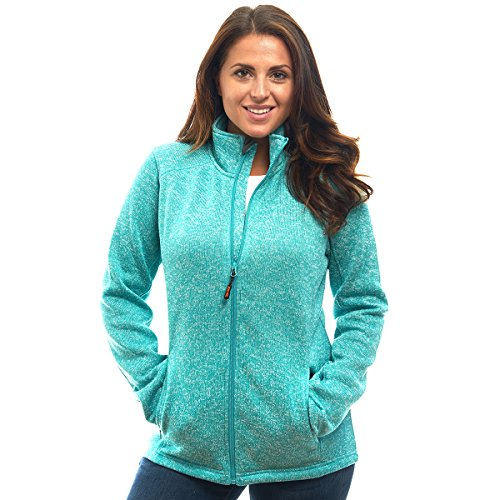TrailCrest Ladies Unique Speckled Zip Up Sweater Jacket-Heather Knit Classic All Season Collection