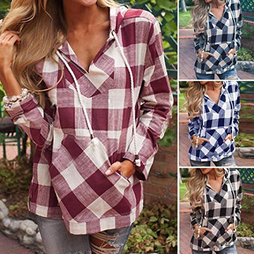 Womens Long Sleeve Sweatshirt Shirt Blouse Black Hoodie T Pullover Fashion Plaid Autumn VJGOAL Top fgwZf