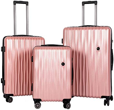 BRONCO POLO Suitcase Set with Spinner Wheels Expandable Lightweight 3 Piece Luggage Hardshell ABS PC TSA Lock -- Rose Gold