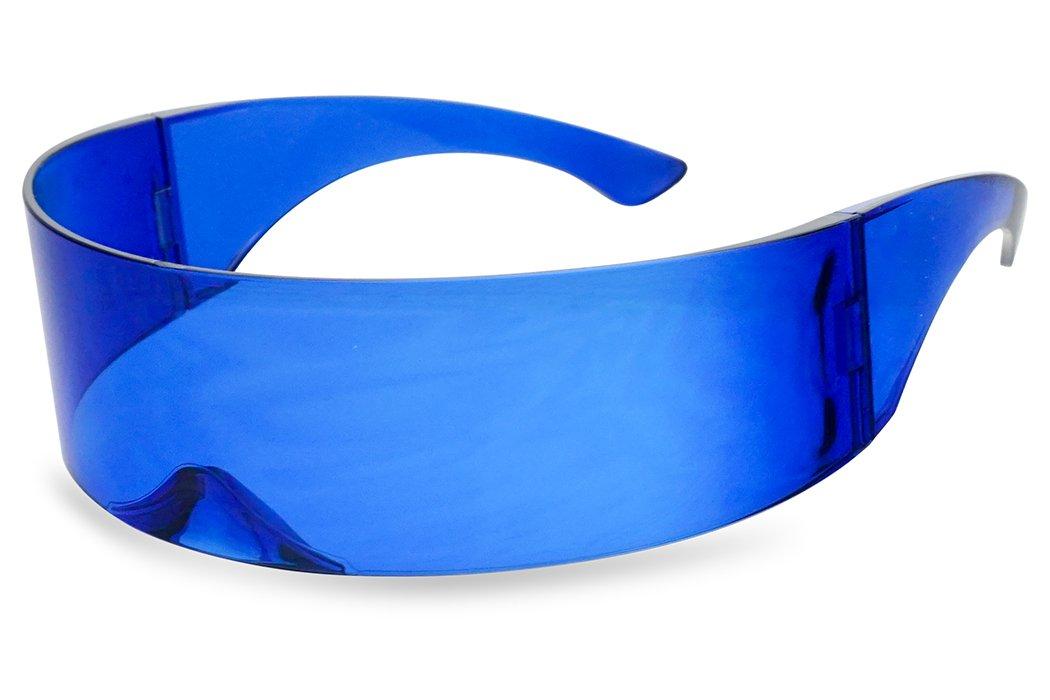 SunglassUP - Wrapped Around Futuristic Cyclops Mirror Single Lens1 Piece PC Sunglasses (Blue, Blue) by SunglassUP