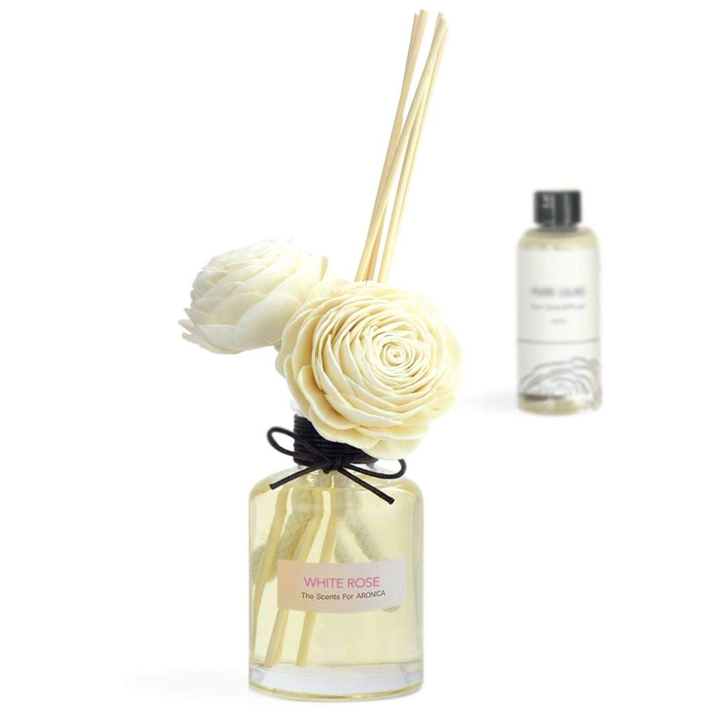 Aronica Premium Twin Flower and Reed Diffuser with Refill 8.8oz/260 ml (White Rose - R) by Aronica