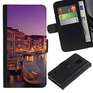 UberTech / Samsung Galaxy S5 V SM-G900 / Venice River Boat City Night Europe Italy / Cuero PU Delgado caso Billetera cubierta Shell Armor Funda Case Cover Wallet Credit Card