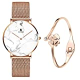 XLORDX Women's Rose Gold White Marble Wrist Watch Quartz Stainless Steel Mesh Band + Rosegold Bracelet