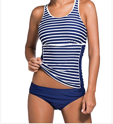 MYQueen Women's Active Monochrome Racerback Tankini and Swim Shorts (Sailor Outfit Ebay)