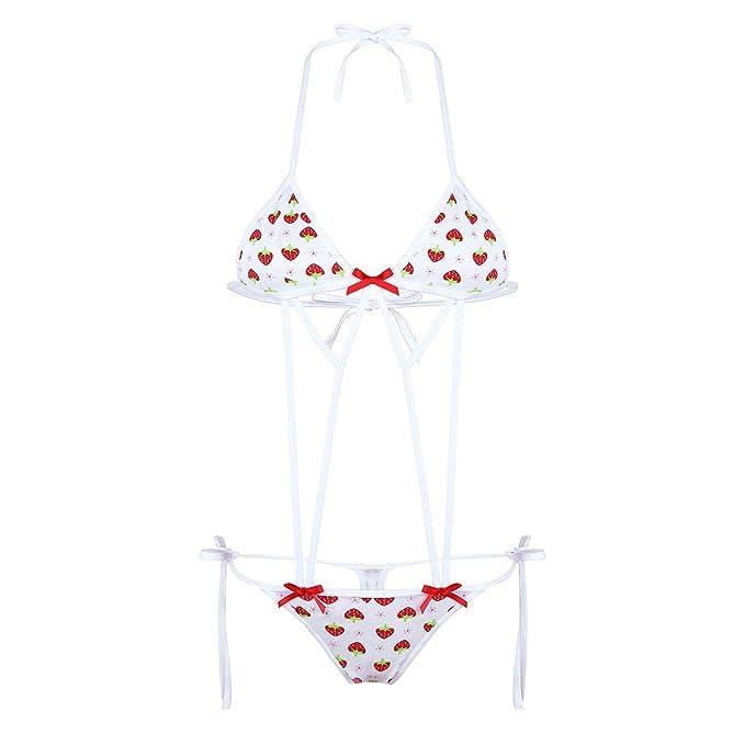 IEFIEL Ropa Interior Mujer Fresa Sexy Micro Bikini Push Up ...